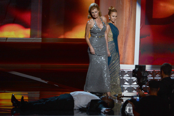 Actors Tracy Morgan, Connie Britton and Hayden Panettiere onstage during the 64th Annual Primetime Emmy Awards at Nokia Theatre L.A. Live on September 23, 2012 in Los Angeles, California