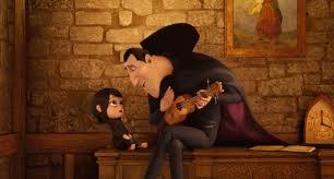 Adam Sandler as Dracula and Selena Gomez as Marvis in Hotel Transylvania (3D).