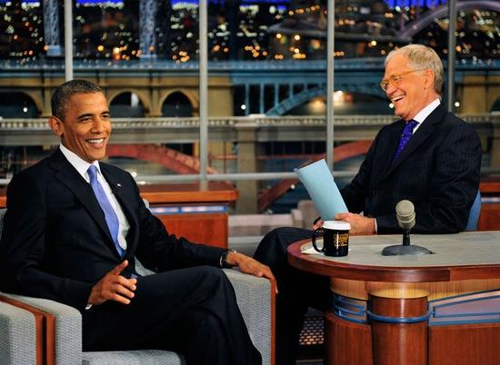 obama with letterman