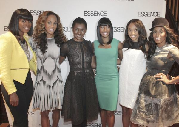 Attending Essence magazine's private luncheon for Olympian Gold Medalists at The Lamb's Club:  Actress Tasha Smith, Olympian Sanya Richards-Ross, Essence editor-in-chief Constance C.R. White, Olympian Carmelita Jeter and Allyson Felix, celebrity stylist June Ambrose (Photo Chris Franko)