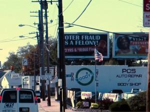 Voter Fraud billboard in Cleveland