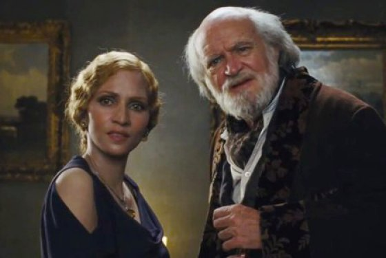 Halle Berry as one of her characters - a white woman named Jocasta Ayrs, the rather kinky wife of a composer played by Jim Broadbent (L).