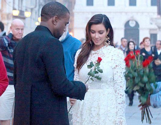 kanye &kim (2012 white wedding dress look-a-like)