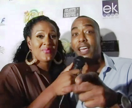 "EURweb's Kymm Soden-Thornton and Miguel Nunez on the red carpet of ""The Izzy Show,"" Universal City, Calif. (Sept. 2, 2012)"