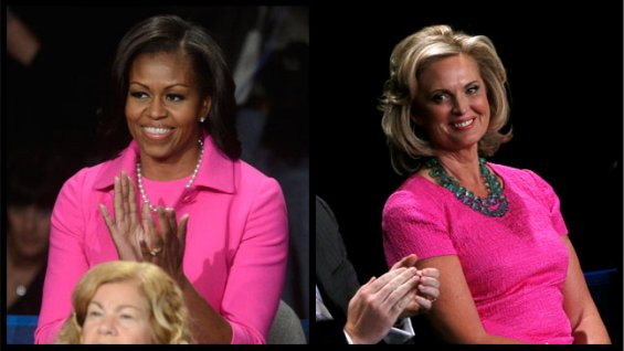 Two wives in pink cheer for their husbands at the 2nd Presidential Debate for the 2012 Election.