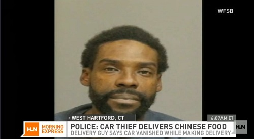 chinese food delivery car thief