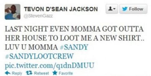 hurricane sandy looter's tweet