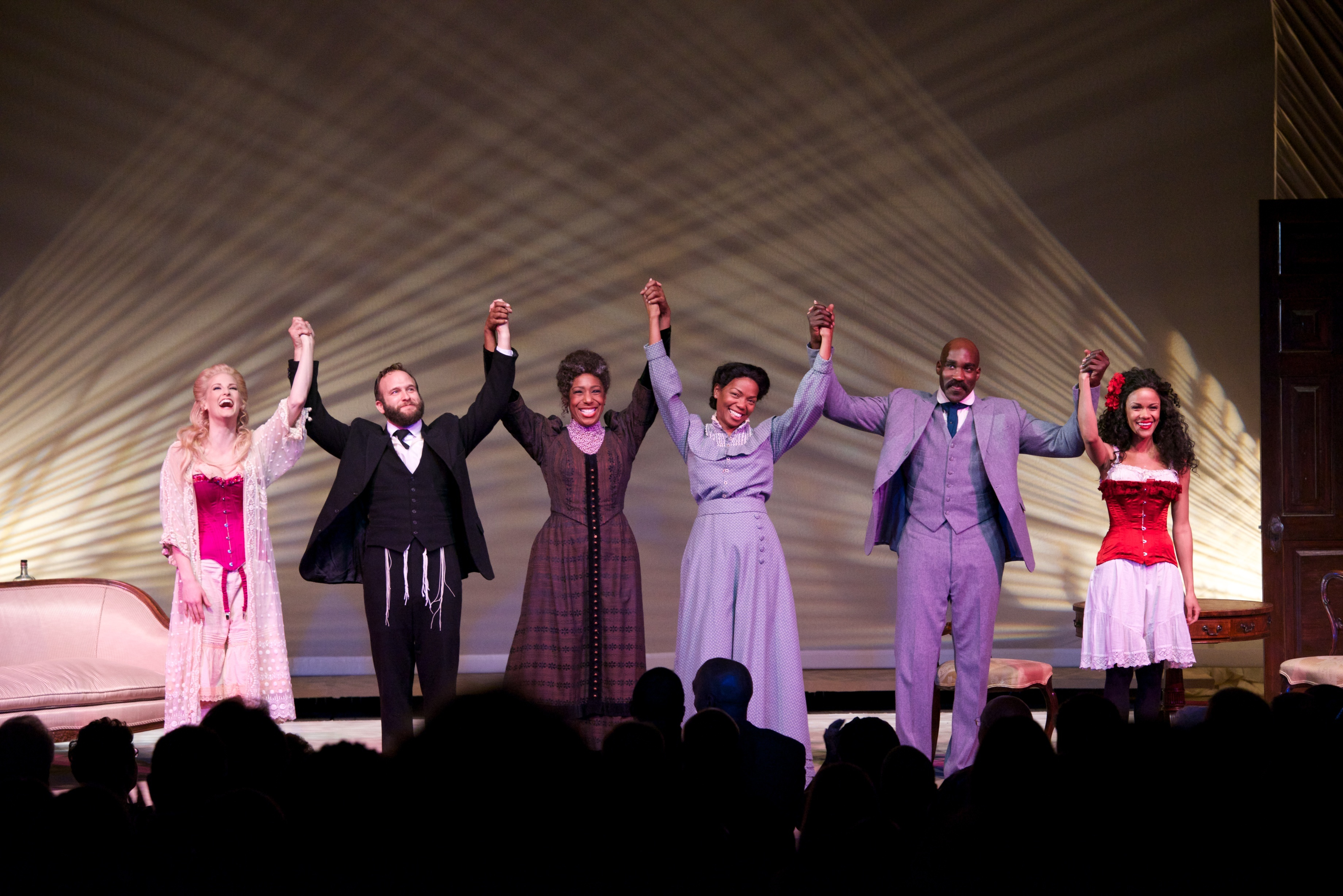 Cast of The Pasadena Playhouse production of Intimate Apparel (L to R) Angel Reda, Adam J. Smith, Dawnn Lewis, Vanessa A. Wiliiams, David St. Louis, and Kristy Johnson. (Photo Credit: Earl Gipson)