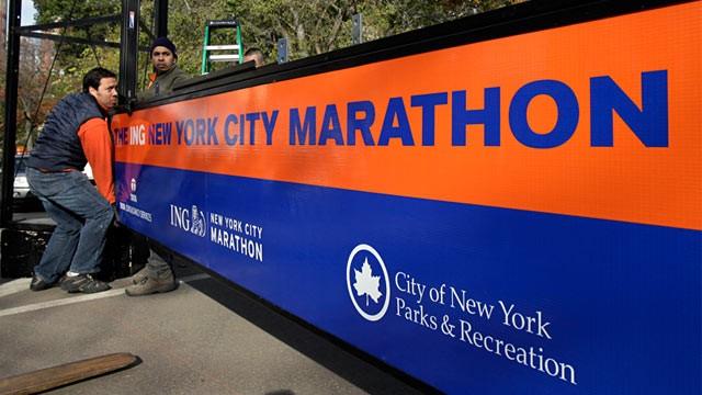 nyc marathon sign/banner