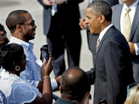 obama greets black man