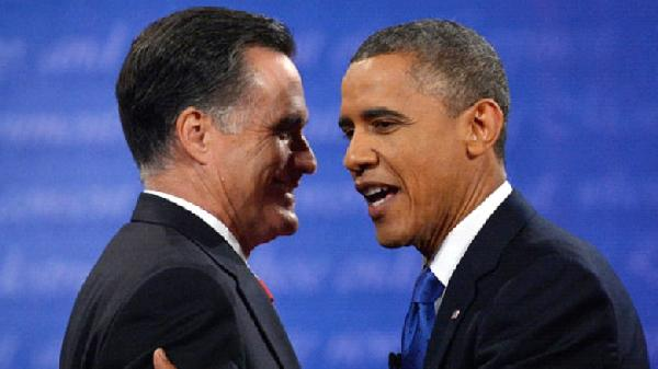 romney & obama (cordial - smiling)