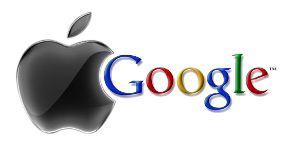 apple & google logos meshed