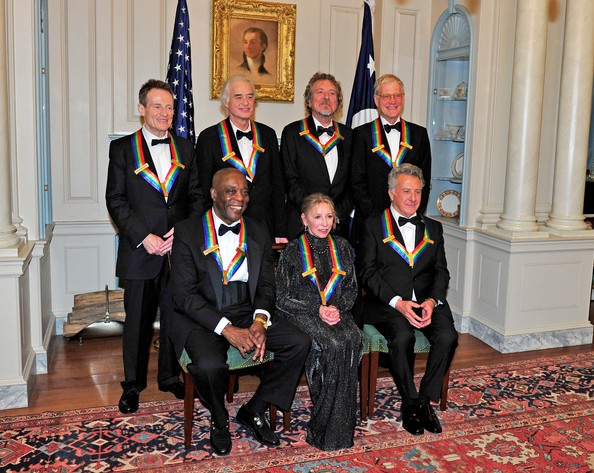 (L-R Back Row) John Paul Jones, Jimmy Page, Robert Plant, David Letterman (L-R Front Row) U.S. Secretary of State Hillary Rodham Clinton, Buddy Guy, Natalia Makarova, Dustin Hoffman pose following a dinner for Kennedy honorees hosted by U.S. Secretary of State Hillary Rodham Clinton at the U.S. Department of State on December 1, 2012 in Washington, DC
