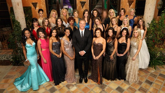 Four African Americans (including Robyn, standing to Sean Lowe's immediate right) on season 17 of The Bachelor