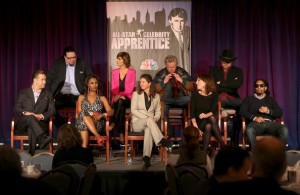 "(Top L-R) Celebrity Apprentice stars Penn Jillette, Lisa Rinna, Gary Busey, Trace Adkins, (Bottom L-R) Stephen Baldwin, Omarosa Manigault, Executive Producer Page Feldman, Celebrity Apprentice stars Marilu Henner, and Lil Jon speak onstage at the ""All Star Celebrity Apprentice"" breakfast session during the NBCUniversal portion of the 2013 Winter TCA Tour- Day 3 at the Langham Hotel on January 6, 2013 in Pasadena"