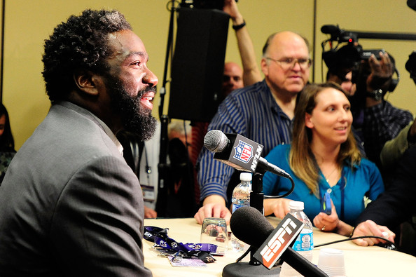Ed Reed, safety for the Baltimore Ravens, speaks to the media during a media availability session for Super Bowl XLVII at the Hilton New Orleans Riverside on January 28, 2013 in New Orleans, Louisiana