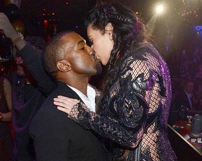 kanye & kim (kissing)