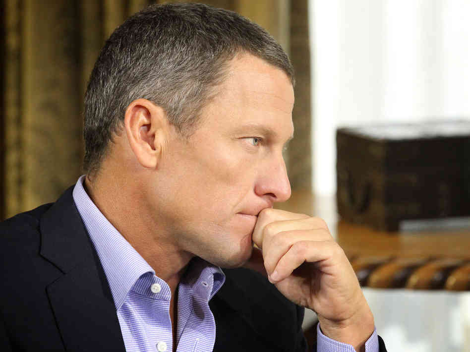 Lance Armstrong, during the interview with Oprah Winfrey that was
