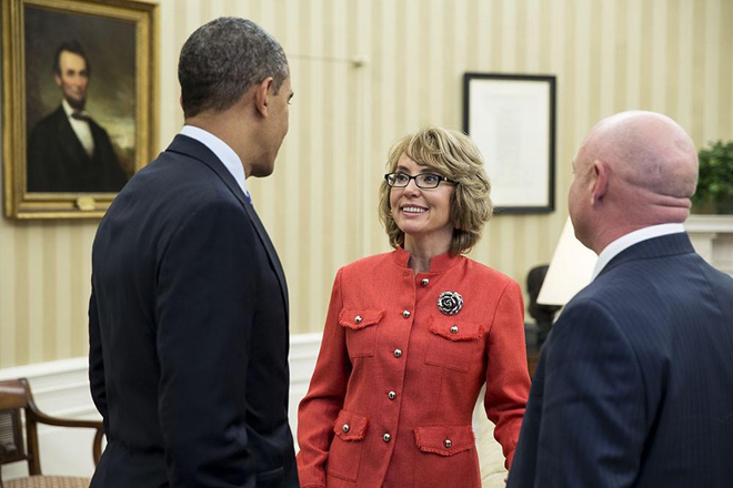 President Obama with former Rep. Gabrielle Giffords and her husband Mark Kelly in the Oval Office Wednesday. Giffords and Kelly visited the White House after testifying before a Senate Judiciary Committee hearing on gun violence.