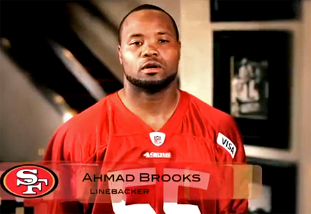 "Ahmad Brooks appears in the San Francisco 49ers' ""It Gets Better"" video"