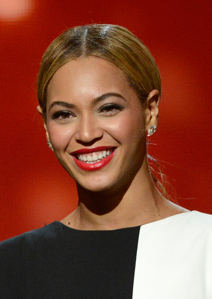 Singer Beyonce speaks onstage at the 55th Annual GRAMMY Awards at Staples Center on February 10, 2013 in Los Angeles