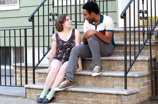 "Donald Glover and Lena Dunham film a scene for HBO's ""Girls"""