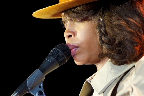 Singer Erykah Badu performs on stage at Theater Circo Price on July 17, 2012 in Madrid, Spain.