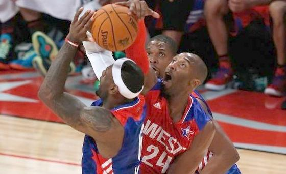 kobe blocks lebron (2013 all-star game)