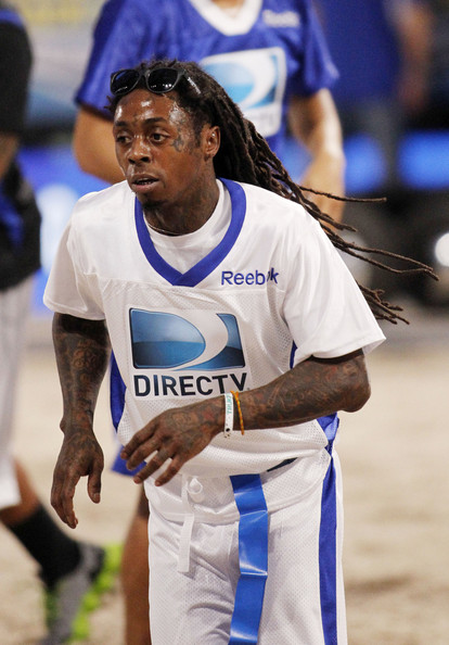 Lil Wayne seen attending the 7th Annual Direct TV Celebrity Beach Bowl in New Orleans, Louisiana. (February 2, 2013)