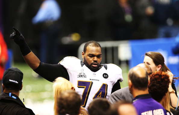 Michael Oher #74 of the Baltimore Ravens celebrates after the Ravens won 34-31 against the San Francisco 49ers during Super Bowl XLVII at the Mercedes-Benz Superdome on February 3, 2013 in New Orleans, Louisiana