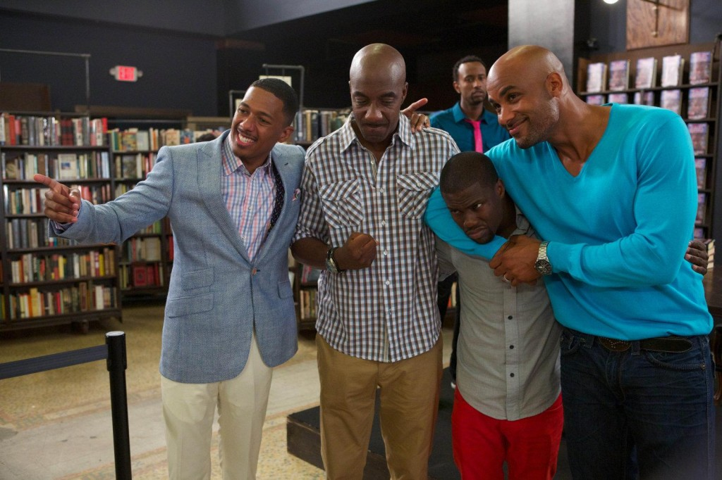 "(L-R) Nick Cannon, JB Smoove, Kevin Hart, Boris Kodjoe in a scene from BET's ""Real Husbands of Hollywood"""