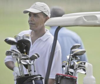 obama (playing golf)