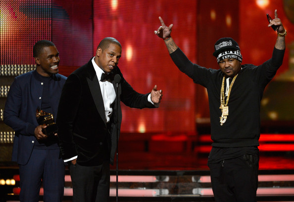 "(L-R) Musicians Frank Ocean, Jay-Z and The-Dream accept Best Rap/Sung Collaboration award for ""No Church in the Wild"" onstage at the 55th Annual GRAMMY Awards at Staples Center on February 10, 2013 in Los Angeles"
