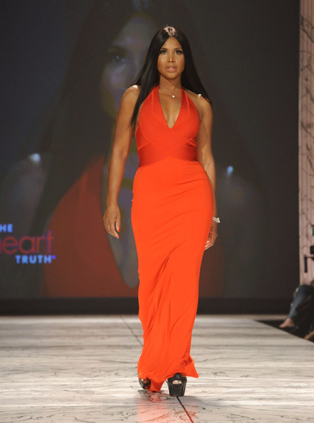 Toni Braxton wearing Herve L. Leroux on the runway during The Heart Truth 2013 Fashion Show held at the Hammerstein Ballroom on February 6, 2013 in New York City