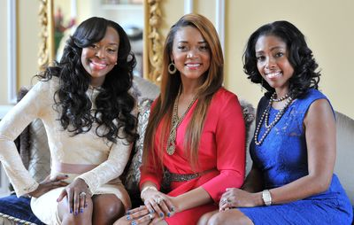 "Three members of the new Bravo show ""Married to Medicine"": Quad Webb-Lunceford, Mariah Huq, and Simone Whitmore at Mariah Huq's home in Jonesboro"