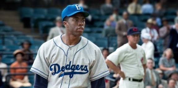 "Chadwick Boseman as Jackie Robinson in ""42"""