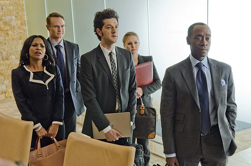 "Don Cheadle, Nia Long, Josh Lawson and Ben Schwartz in a scene from Showtime's ""House Of Lies"""