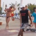 Russian Big Belly Man Best Dancer Among Exercise Group (Video)