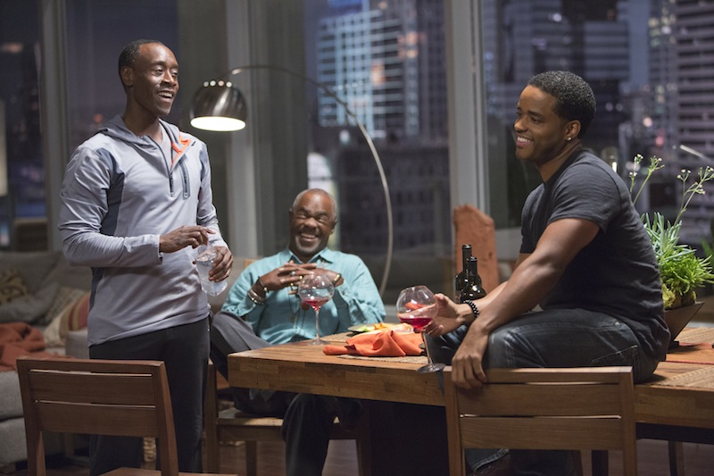 Don Cheadle as Marty Kaan, Glynn Turman as Jeremiah and Larenz Tate as Malcolm in House of Lies (Season 2, Episode 7).