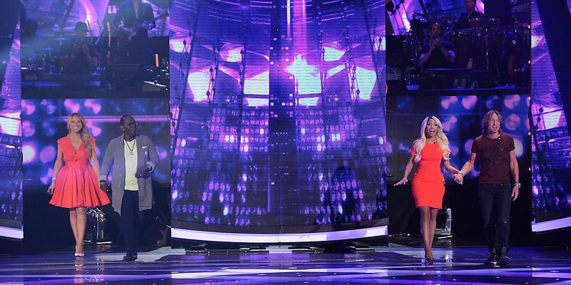 L-R: Mariah Carey, Randy Jackson, Nicki Minaj and Keith Urban during 'American Idol.' televised on Wednesday, March 27, 2013