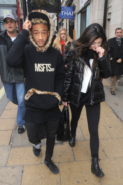 Kylie Jenner and Jayden Smith stroll down the street after lunching at Cafe Nero in London together