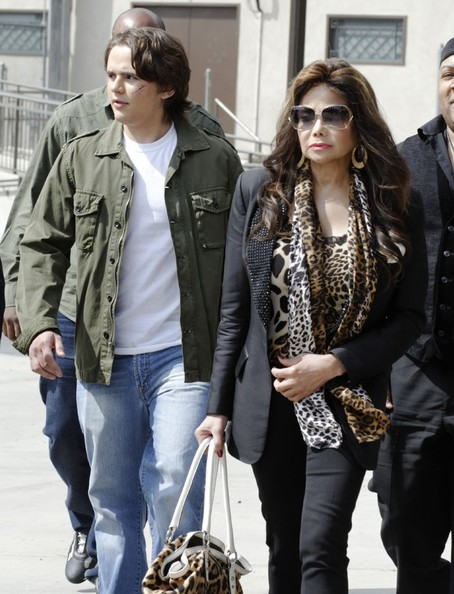 Prince and La Toya Jackson visit the set of '90210' in Los Angeles, California on March 4, 2013.