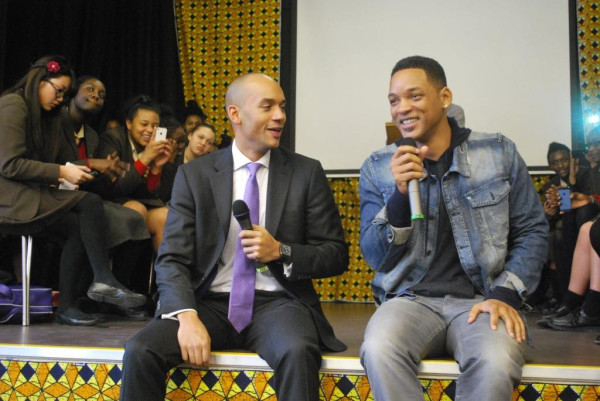 Chuka Umunna and Will Smith at St Martin's School in Tulse Hill