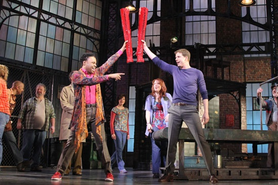 Billy Porter (L) and fellow 2013 Tony nominee Stark Sands present their wonderful creation to the factory floor in Kinky Boots