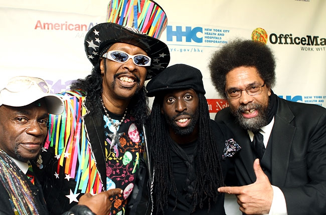 "L-R: Cordell ""Boogie"" Mosson, Bootsy Collins, Tye Tribbett, and Dr. Cornel West"