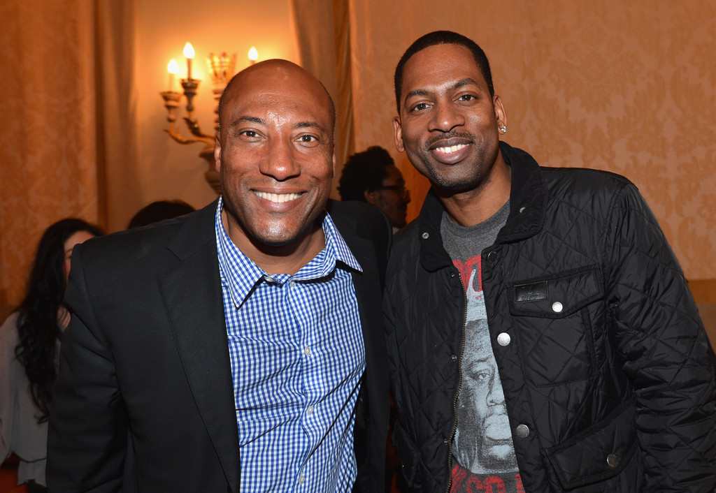 Byron Allen and Tony Rock attend the BET Networks' 2013 Los Angeles Upfront at Montage Beverly Hills on April 2, 2013 in Beverly Hills
