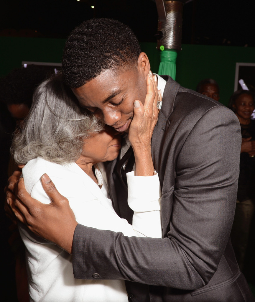 "Widow of baseball player Jackie Robinson, Rachel Robinson (L) and actor Chadwick Boseman attend the after party for the Los Angeles premiere of Warner Bros. Pictures' and Legendary Pictures' ""42"" on April 9, 2013 in Hollywood"