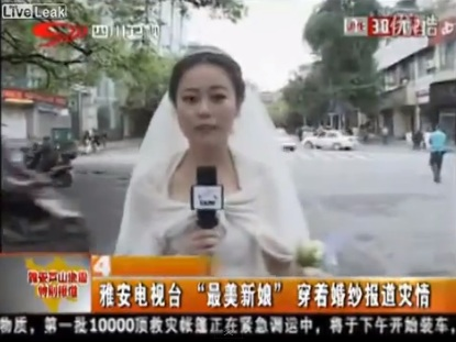 china earthquake reporter in wedding dress