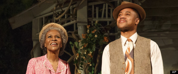 """Cicely Tyson, left, and Cuba Gooding Jr., during a performance of """"The Trip to Bountiful"""" at the Stephen Sondheim Theatre in New York."""
