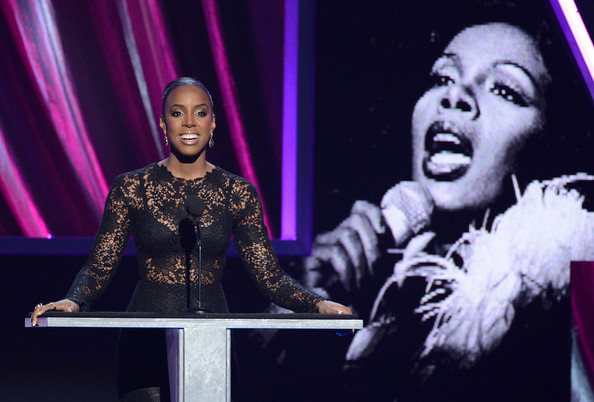 Presenter Kelly Rowland speaks on stage at the 28th Annual Rock and Roll Hall of Fame Induction Ceremony at Nokia Theatre L.A. Live on April 18, 2013 in Los Angeles, California